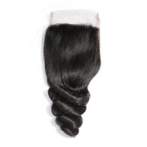 Queena Indian Loose Wave Weave 4x4 Lace Closure With 3 Bundles Deals