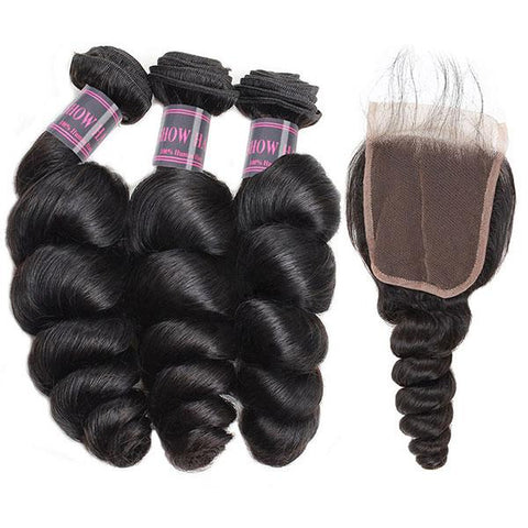 Image of Queena Indian Loose Wave Transparent Lace Closure With 3 Bundles Human Hair