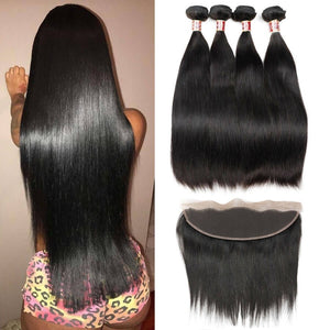 Queena Brazilian Straight Hair 13x4 Lace Frontal With 4 Bundles
