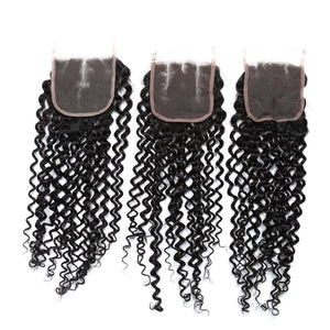 Queena Malaysian Human Hair Kinky Curly 3 Bundles With Closure