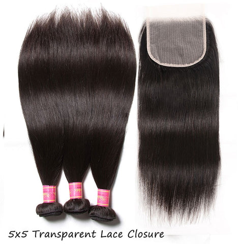 Queena Peruvian Free Part 4x4 Transparent Lace Closure With 3 Bundles Straight Hair