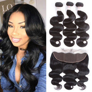 Queena Peruvian Human Hair Body Wave 3 Bundles With Free Part 13x4 Lace Frontal Closure