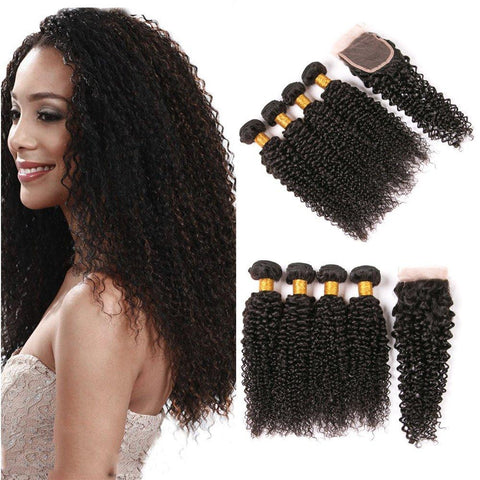 Image of Queena Brazilian Jerry Curly Human Virgin Hair 4 Bundles With 4x4 Lace Closure