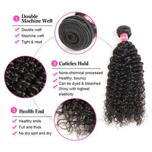 Queena Best Brazilian Deep Curly 3 Bundles With 13x4 Lace Frontal Closure