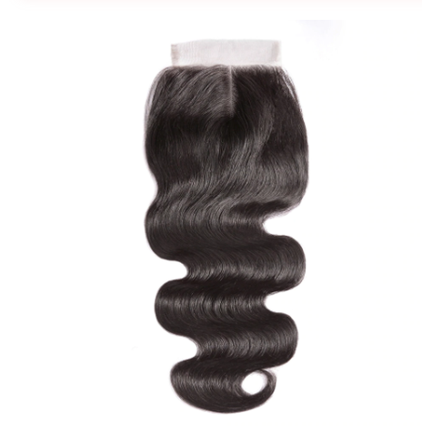 Image of Queena Indian Body Wave Free Part 4x4 Transparent Lace Closure With 4 Bundles