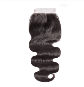 Queena Indian Body Wave Free Part 4x4 Transparent Lace Closure With 4 Bundles