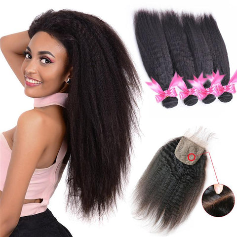 Image of Queena High Grade 4 Bundles Peruvian Kinky Straight Hair With 4x4 Lace Closure For Women