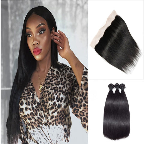 Image of Queena Indian Free Part 13x4 HD Lace Frontal With Straight 3 Bundles