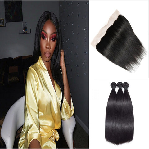Image of Queena Malaysian Straight Hair 3 Bundles Deals With 13x4 Transparent Lace Frontal