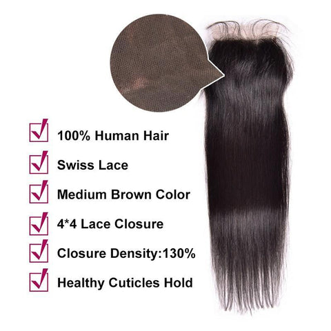 Image of Queena Indian Straight Human Hair Weave 4 Bundles With 4x4 Lace Closure