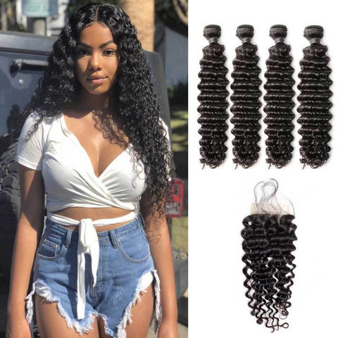Image of Queena Best Brazilian Hair Deep Wave 4 Bundles With 4x4 Lace Closure
