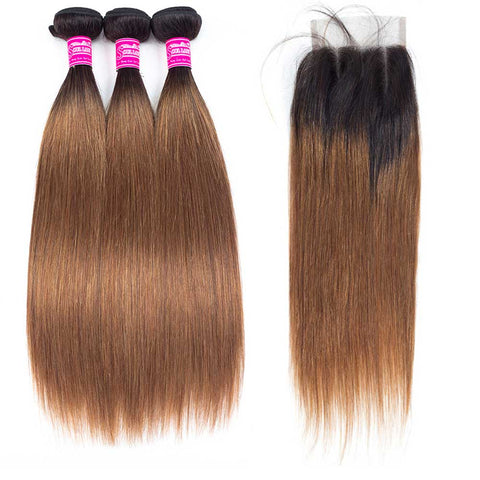 Soul Lady Ombre Color 1B/30 Brazilian Hair 3 Bundles With Lace Closure Straight Hair