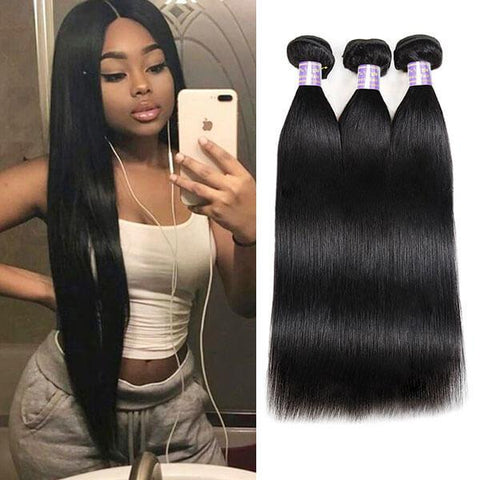 Image of Queena Free Part 4x4 HD Lace Closure With 3 Bundles Vietnam Straight Hair
