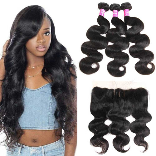 Brazilian Hair Bundles with 13x4 Lace Frontal Body Wave 9A