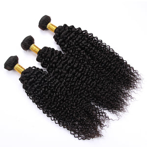 Queena Brazilian Hair 3 Bundles With Lace Closure 100% Human Hair Kinky Curly