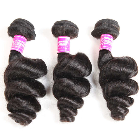 Queena Brazilian Hair 3 Bundles 100% Human Hair Loose Wave