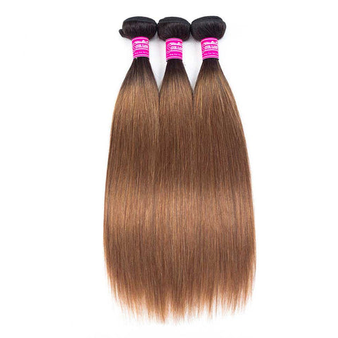 Image of Queena Ombre Color 1B/30 Brazilian Hair 3 Bundles With Lace Closure Straight Hair