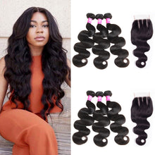 Load image into Gallery viewer, Brazilian Hair 3 Bundles with Closure Body Wave