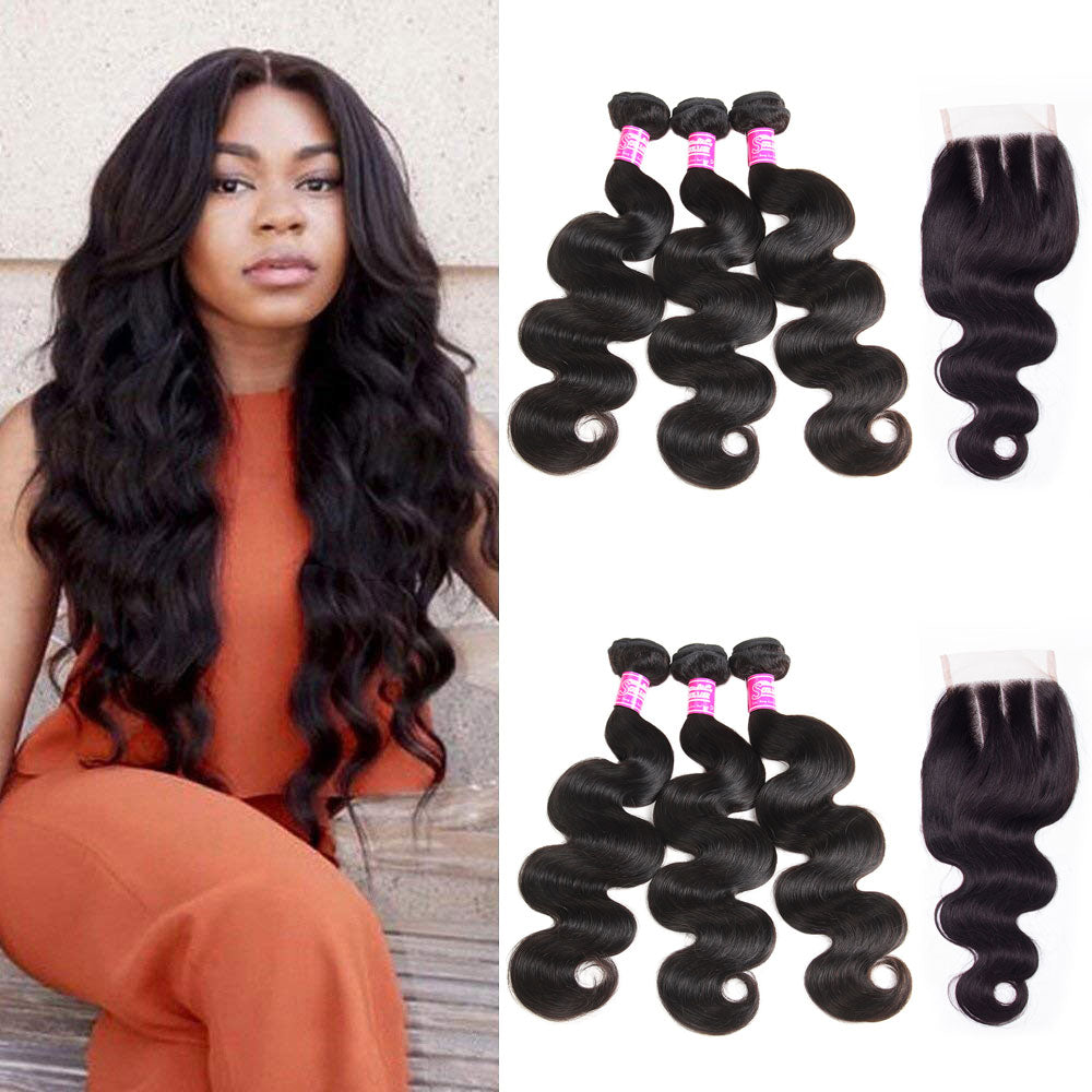 Brazilian Hair 3 Bundles with Closure Body Wave