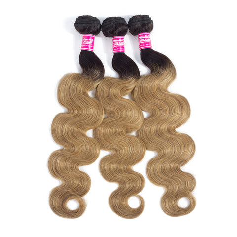 Image of Soul Lady Ombre Color 1B/27 Brazilian Hair 3 Bundles With Lace Closure Body Wave