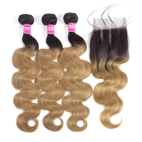 Image of Queena Ombre Color 1B/27 Brazilian Hair 3 Bundles With Lace Closure Body Wave