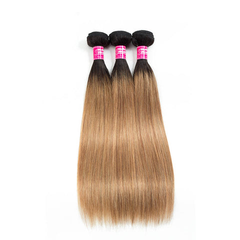 Queena Ombre Color 1B/27 Brazilian Hair 3 Bundles With Lace Closure Straight Hair