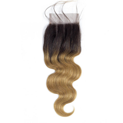 Queena Ombre Color 1B/27 Brazilian Hair 3 Bundles With Lace Closure Body Wave