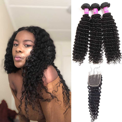 Brazilian Hair 3 Bundles With Lace Closure 100% Human Hair Deep Wave
