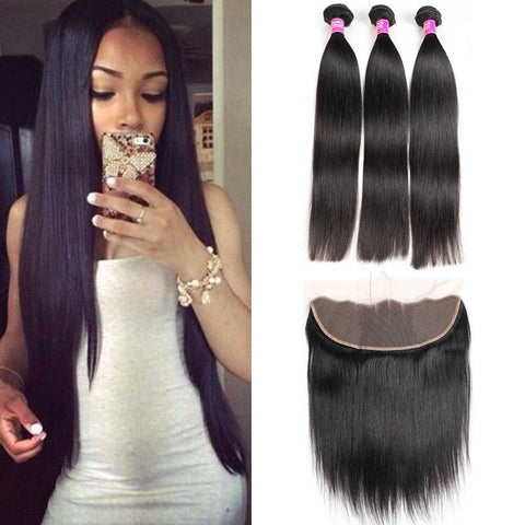 Image of Brazilian hair bundles with lace frontal