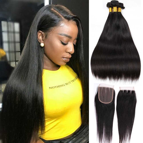 10A Brazilian Hair 3 Bundles With Lace Closure 100% Human Hair Straight