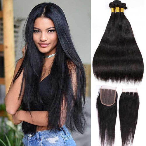 Peruvian 100% Human Hair 3 Bundles With 4x4 Lace Closure Straight