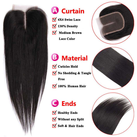Image of Queena 10A Brazilian Hair 3 Bundles With Lace Closure 100% Human Hair Straight Hair