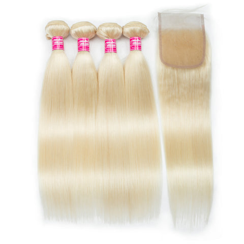 Queena 613 Color Brazilian Human Hair 3 Bundles With Closure Straight Hair