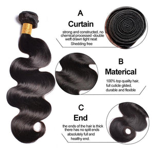 Queena Hair Body Wave Peruvian Virgin Hair Wave 3 Bundles