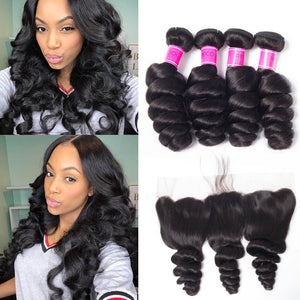 Queena Loose Wave Malaysian Virgin Human Hair 13x4 Lace Frontal Closure With 4 Bundles
