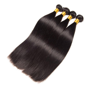 Queena Indian Straight Human Hair Weave 4 Bundles With 4x4 Lace Closure