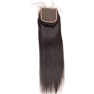 QueenaStraight Hair Natural Color 4 Bundles With 4x4 Lace Closure Malaysian Hair