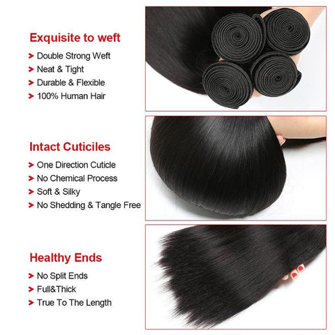 Image of QueenaStraight Hair Natural Color 4 Bundles With 4x4 Lace Closure Malaysian Hair