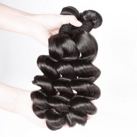 Image of Queena Peruvian Loose Wave Virgin Hair 3 Bundles Human Hair Weave