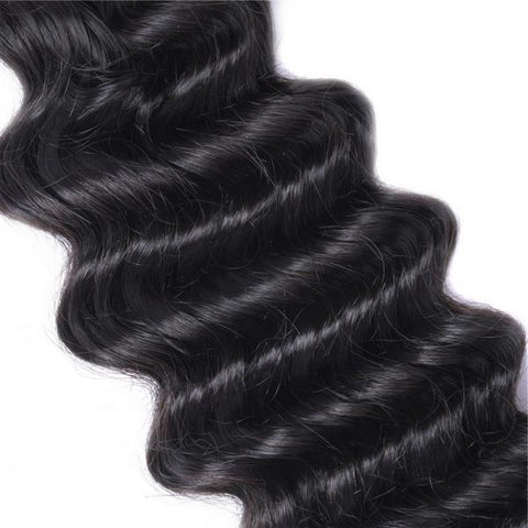 Image of Queena Indian Deep Wave Human Virgin Hair 3 Bundles With Lace Closure Natural Color