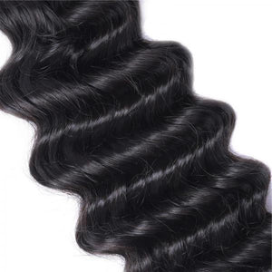 Queena Indian Deep Wave Human Virgin Hair 3 Bundles With Lace Closure Natural Color