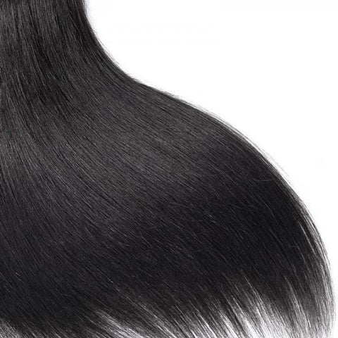Image of Queena Straight Hair Brazilian 3 Bundles With 4x4 HD Lace Closure