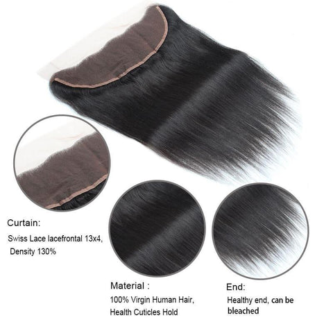 Image of Queena Malaysian Straight 13x4 Lace Frontal With Human Hair 3 Bundles