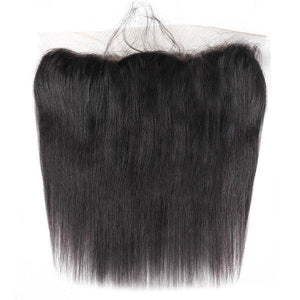 Queena Malaysian Straight Hair 3 Bundles Deals With 13x4 Transparent Lace Frontal