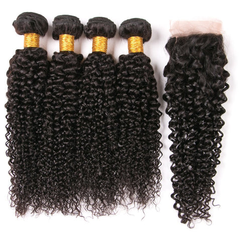 Queena Peruvian Jerry Curly 4 Bundles With 4x4 HD Lace Closure Human Hair