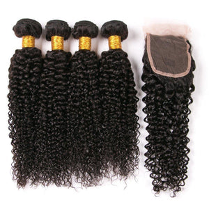 Queena Unprocessed 4 Bundles Malaysian Jerry Curly Hair With 4x4 Lace Closure For Women