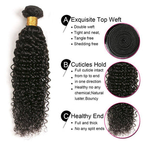 Queena Brazilian Jerry Curly Human Virgin Hair 4 Bundles With 4x4 Lace Closure