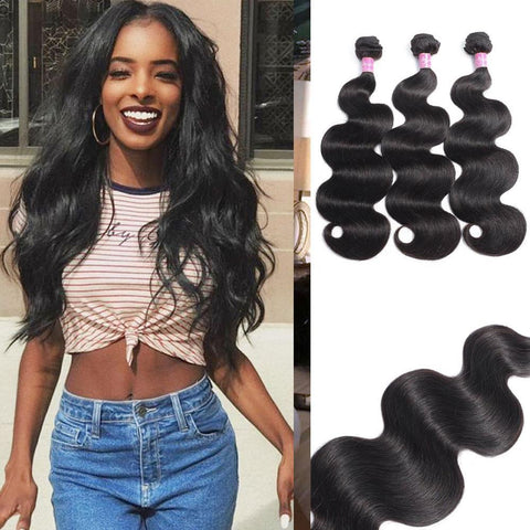 Queena Brazilian Body Wave Virgin Hair 3 Bundles Human Hair Weave