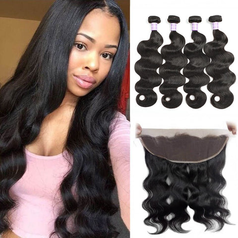 Image of Queena 13x4 Lace Frontal With 4 Bundles Body Wave Peruvian Hair