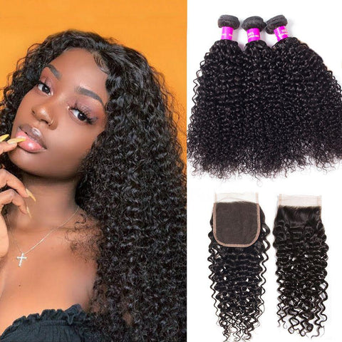 Image of Queena Jerry Curly Hair Closure With 3 Bundles Deals Best Brazilian Virgin Hair